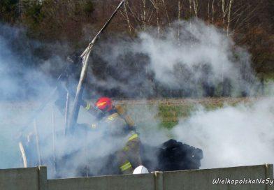 Pożar kontenera z paletami